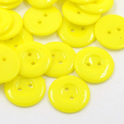 12 ROUND LEMON YELLOW Buttons for Jewelry Making, Scrapbooking, Sewing . 18mm but0003