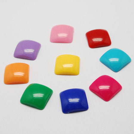 Acrylic Puffed SQUARE Shapes 12mm, cabochon flatbacks, 50 pcs mixed random colors for decoden, kawaii, cute cab0021