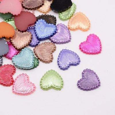 Acrylic Flat Fancy HEART Shapes 14x14mm, cabochon flatbacks, 50 pcs mixed random colors for decoden, kawaii, cute cab0038