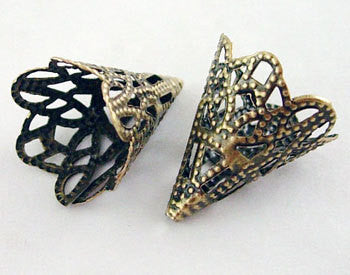 20 Bronze Metal Filigree Bead Cones 20x17mm  bme0018