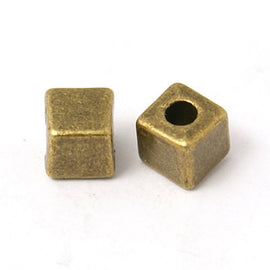 50 Bronze Metal Cube Beads, 4mm  bme0016
