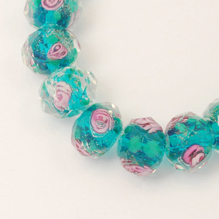 10 pcs BLUE Green and Pink ROSE Faceted Glass Rondelle Beads . 10mm x 7mm bgl0005