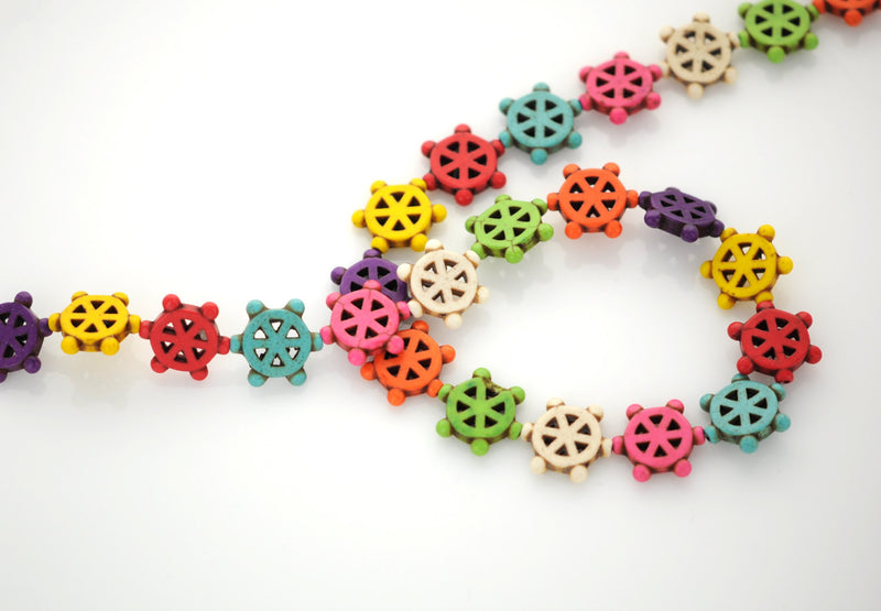 Howlite Stone Beads Mixed Colors, SHIP WHEEL 18mm how0003