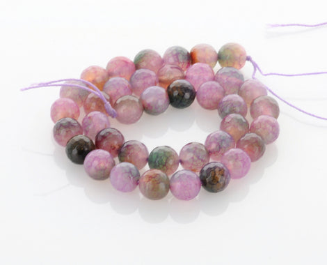 1 Strand Round Dyed Faceted Pale PINK, PURPLE and GREEN Agate Gemstone Beads, 10mm gag0003
