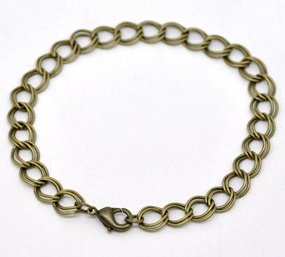 "One Dozen (12) Antique Bronze Curb Link Double Loop Chain Bracelets 20cm (7-7/8"") FCH0011"