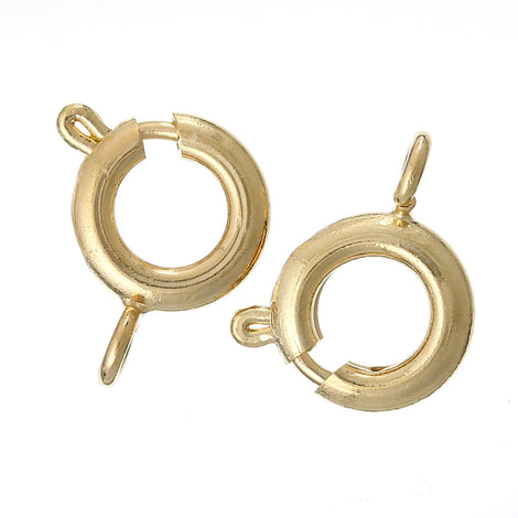 10 Gold Plated (18Kt) Spring Ring Clasps, 9mm x 7mm fcl0009