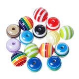 100 Round Mixed Colors Striped Beads . rainbow, black and white, orange, red, yellow, pink . acrylic  12mm  bac0015