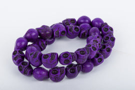 DARK PURPLE Sugar Skulls Gemstone Beads . 1 long strand . approx 31 beads . carved stone  12mm how0049