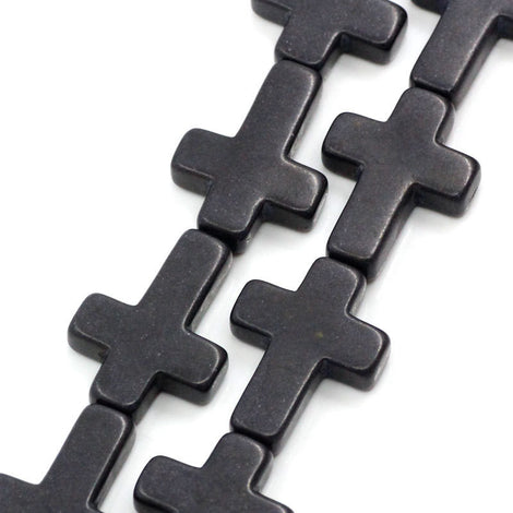 1 Strand Stone Cross Beads . BLACK . Sideways Cross . 30mm x 20mm how0041
