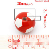 20 Large SOCCER BALL Round Acrylic Beads, bright colors, bubblegum beads  20mm bac0024