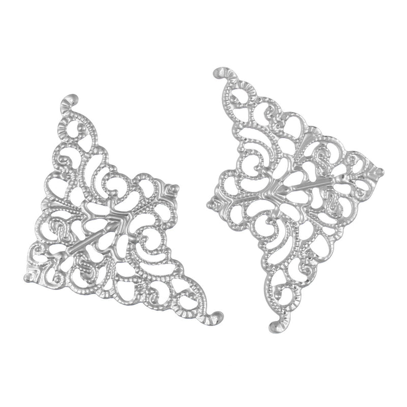 100 Silver Tone Vintage Style Filigree Flat Metal Findings  Bulk package  FIL0002b