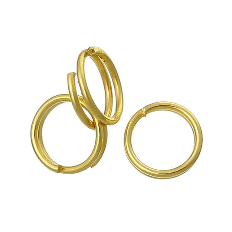 50 SMALL Gold Plated Double Loops Split Rings Open Jump Rings 6mm jum0009