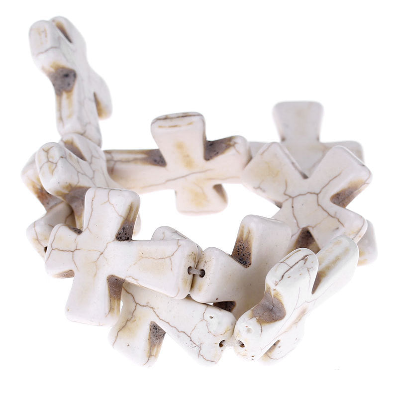 2 pcs. Large Howlite Stone Beads OFF WHITE Maltese CROSS . 36x30mm how0050a