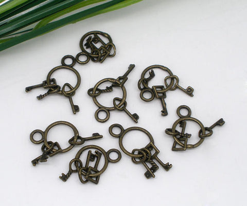 10 Small Antiqued Bronze Metal KEY Dangle Charms, moveable CHB0059
