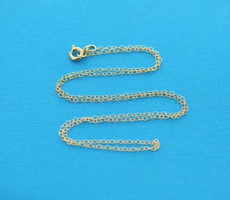 "Gold Filled Cable Link Necklace chain, finished, 16"" 1.5mm oval soldered links, clasp, pmg0003"