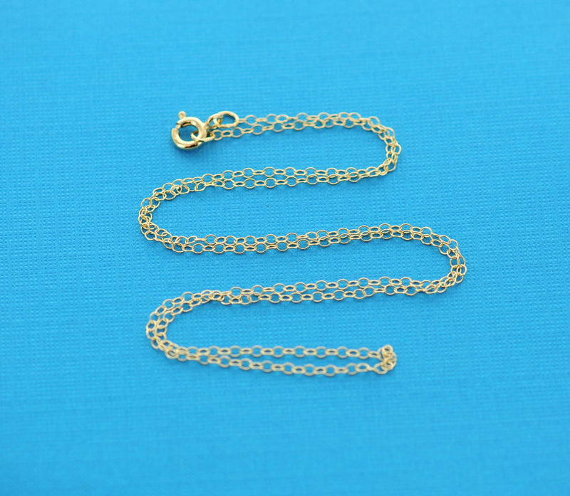 "Gold Filled Cable Link Necklace chain, finished, 18"" 1.5mm oval soldered links, clasp, pmg0002"