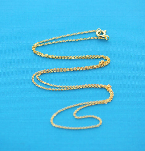 "Gold Filled Cable Link Necklace chain, finished, 20"" 1.2mm oval soldered links, clasp, pmg0004"