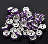 8mm PURPLE GRAPE Rhinestone Crystal Spacer Rondelle Beads . 10 pieces . Smooth Edge . silver plated core . bme0223