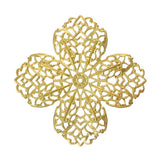 10 Large Bright Gold Plated Filigree Squares, flat thin findings for jewelry making, crafts  FIL0003