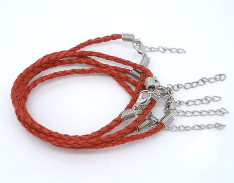 "20 RED Leatheroid Bracelet Braided Cords with Lobster Clasp . 8"" long plus 2"" extender chain fch0020"