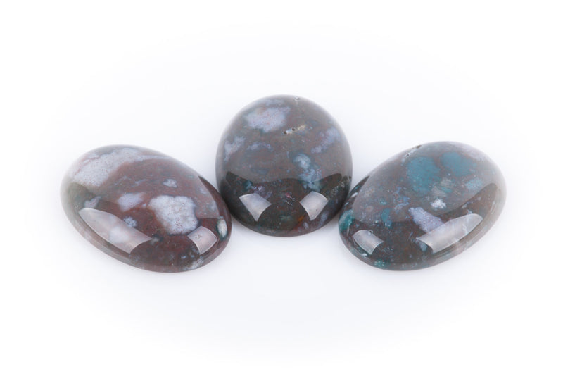 2 Oval Gemstone Cabochons, 25x18mm, INDIAN AGATE cab0048