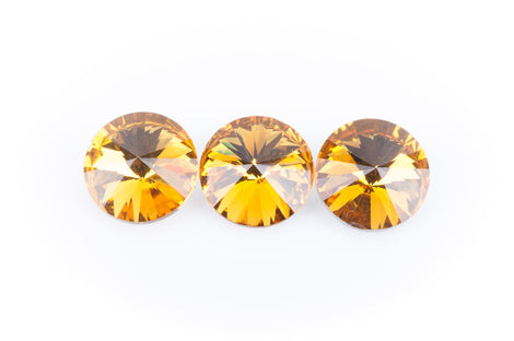14mm Glass Crystal Rivoli RHINESTONE Crystals, chaton, silver foil backing TOPAZ, 4 pcs.  cry0076