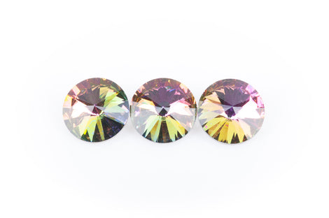 14mm Glass Crystal Rivoli Rhinestone Crystals, chaton, silver foil backing NORTHERN LIGHTS VITRAIL, 4 pcs.  cry0078