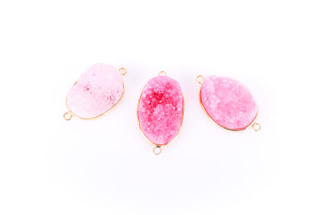 "1 PINK DRUZY Gemstone Connector Link, Gold Plated Bezel, 1.5"" long  gdz0003"