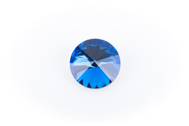 14mm Glass Crystal Rivoli Rhinestone Crystals, chaton, silver foil backing SAPPHIRE BLUE, 4 pcs.  cry0082