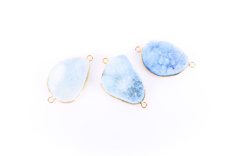 "1 BLUE DRUZY Gemstone Connector Link, Gold Plated Bezel, 1.5"" long  gdz0006"