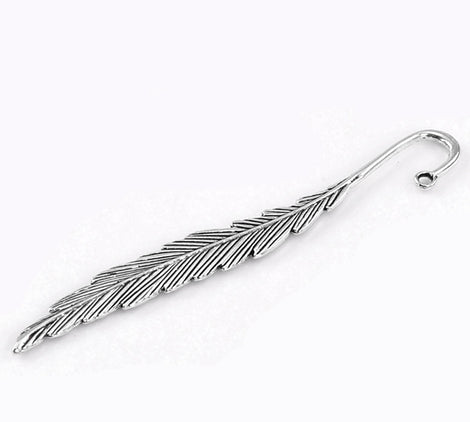 "2 Antique Silver Blank Bookmarks Findings FEATHER 4-5/8"" long fin0019"