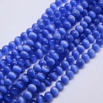 6mm Medium BLUE Glass Cat's Eye Beads, Round, about 64 beads, bgl0030
