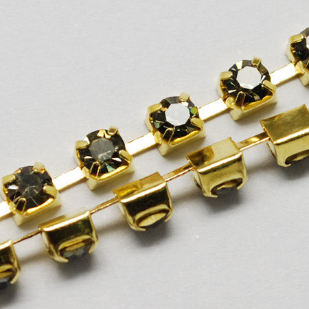 1 yard ( 3 feet ) Rhinestone Cup Chain, 2mm, gold brass base metal and BLACK DIAMOND glass crystals fch0185