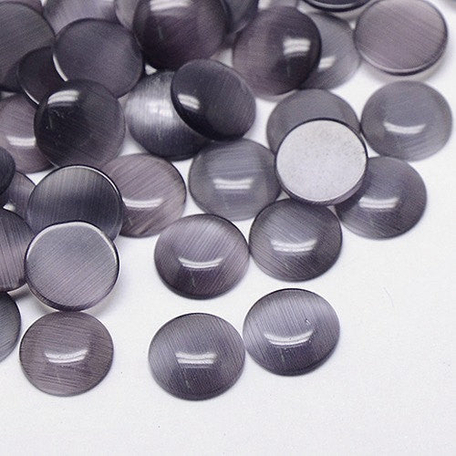 8 Round Circle Glass Cabochons, flatback, GREY Cat's Eye 16mm  cab0080