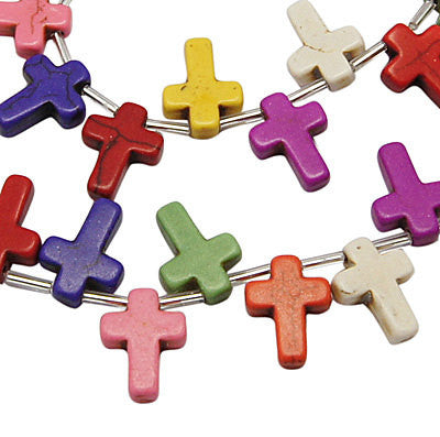 16mm Howlite Cross Beads, MIXED COLORS Top Drilled, full strand, 25 beads, how0069