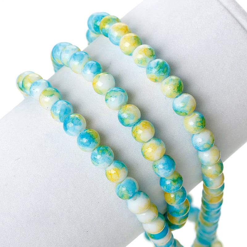 6mm White Glass Beads with Turquoise Blue and Yellow Marble Accents, 140 beads, bgl0042
