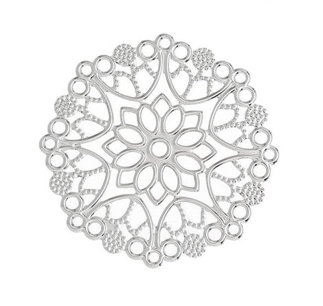 20 Antique Silver Filigree Round Shapes, flat thin findings for jewelry making, crafts  FIL0008a