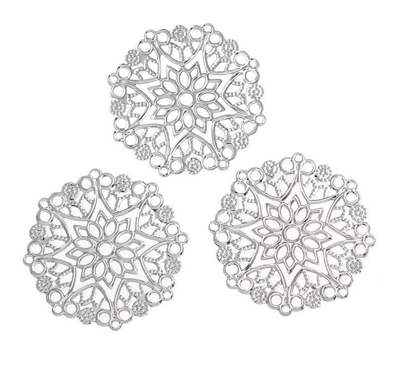 50 bulk Large Antique Silver Filigree Round Shapes, flat thin findings for jewelry making, crafts  FIL0007b