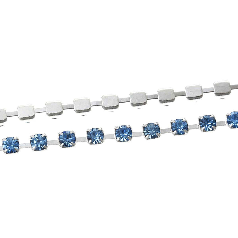 1 yard ( 3 feet ) Rhinestone Cup Chain, 2mm, bright silver base metal and LIGHT SAPPHIRE BLUE glass crystals fch0186
