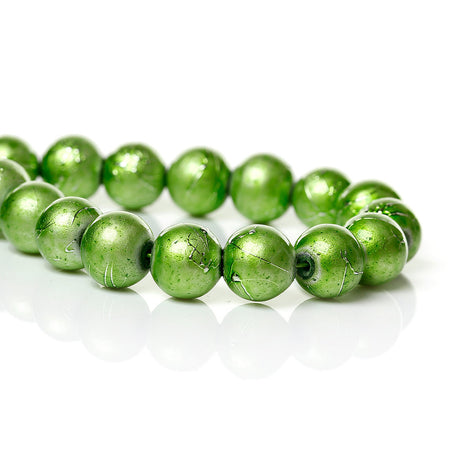 50 SPRING GREEN Metallic Drizzle Glass Beads, Round, 8mm bgl0059