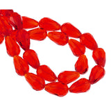 25 Teardrop Briolette Crystal LIGHT SIAM RED Glass Beads . 16x10mm bgl0063
