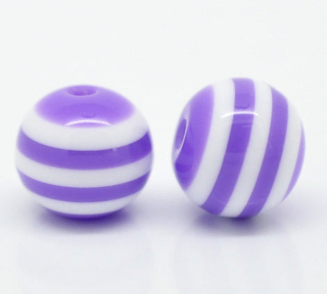 100 Round LAVENDER PURPLE and WHITE Acrylic Striped Beads . 10mm  bulk package bac0040