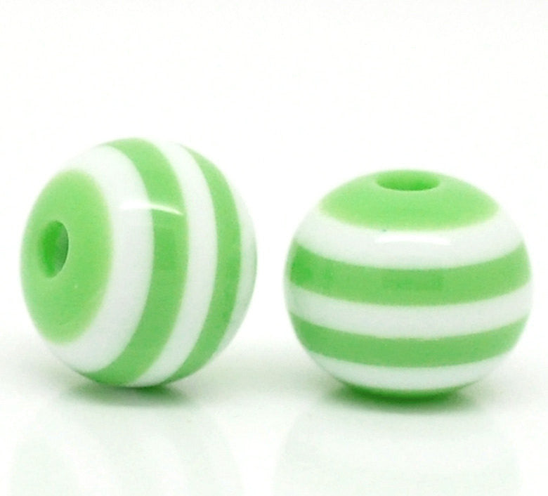 8mm Round GREEN and WHITE Acrylic Beads, Striped Beads, bulk package of 200 beads, bac0044