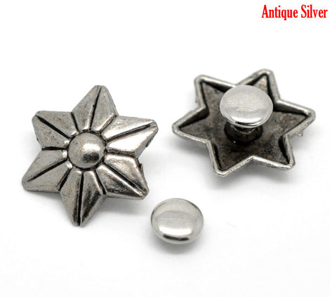 6 Sets FLOWER Stud Rivets . antiqued silver metal fin0048