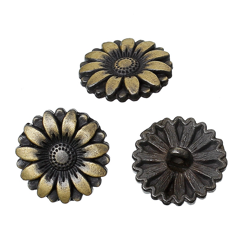 6 Bronze Metal FLOWER Shank Buttons for Jewelry Making, Scrapbooking, Sewing  BUT0018