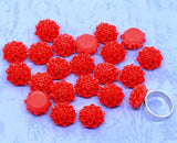 10 Resin Flower Cabochons, Chrysanthemum Mum . RED  .  16mm cab0128