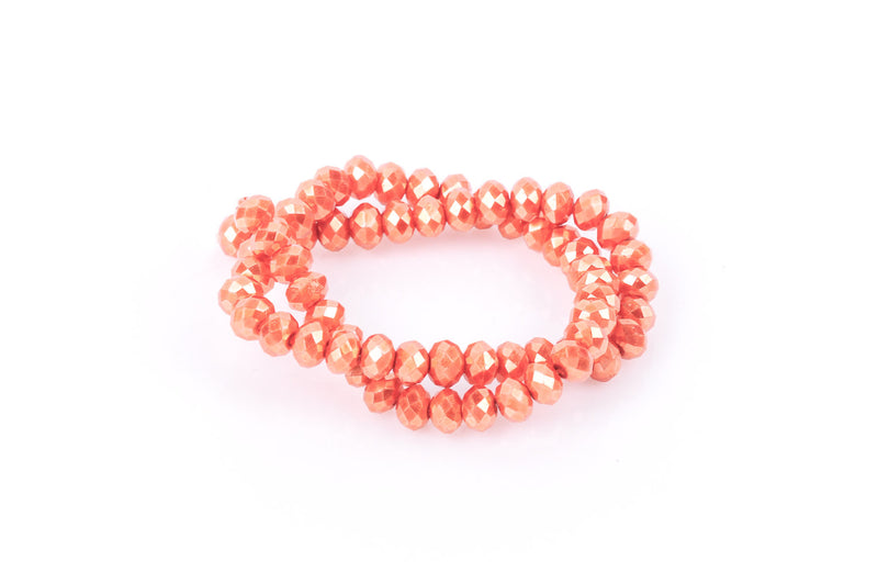 6x4mm Metallic Pearl TANGERINE ORANGE Opaque Crystal Glass Faceted Rondelle Beads, full strand, 60 beads, bgl0068