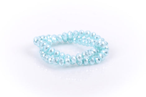 8x6mm Metallic Pearl LIGHT PASTEL BLUE Opaque Crystal Glass Faceted Rondelle Beads . 1 Strand, bgl0086