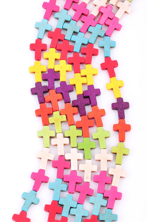 Strand Small Carved Stone Howlite CROSS Beads in Mixed Bright Colors,16mm x 12mm, sideways cross how0132