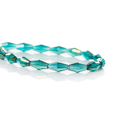 "22"" Strand Crystal Elongated Bicone Beads . TEAL Blue Green AB 8mm x 4mm about 75 beads, bgl0091"